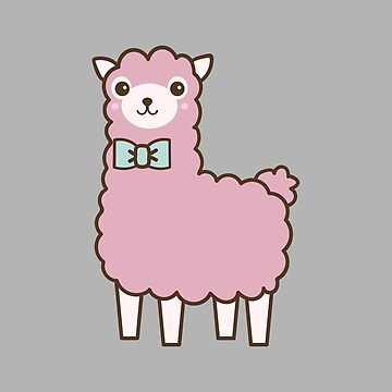 Cartoon illustration of a pink llama by PM-TShirts