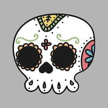 Cartoon illustration of a colorful skull by PM-TShirts