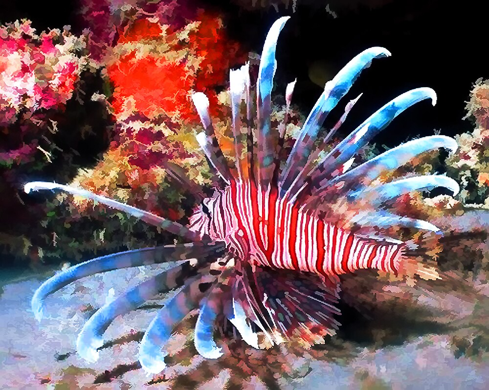 Lion fish as a water color by jnhPhoto