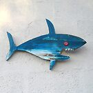 Blue Shark with Red Eye Wooden Wall Decor by Teresa Schultz