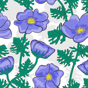 Seamless pattern Blue flowers. by fuzzyfox