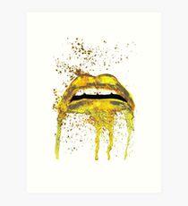 Gold lips art Art Print