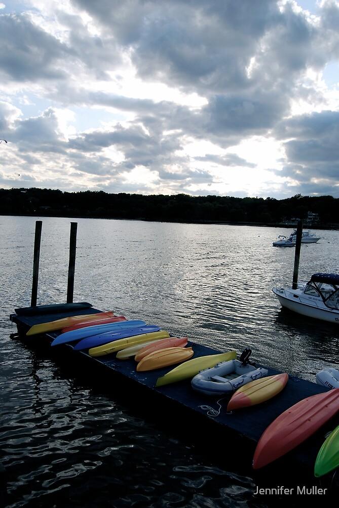 boats on dock by Jennifer Muller