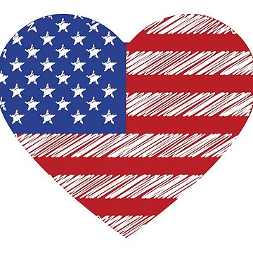 Scribble American flag Heart Shape by common-node