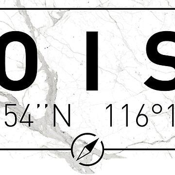 The longitude and latitude of Boise, ID by efomylod