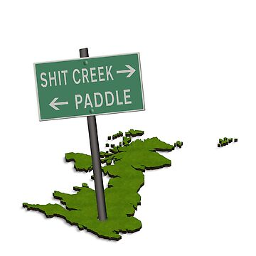 UK map with sign Shit creek and paddle by stuwdamdorp