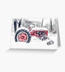 Old Farmall Tractor in Winter Greeting Card