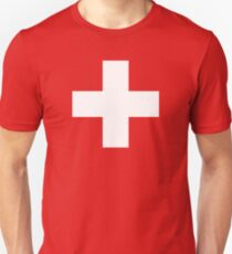 WHITE CROSS, on RED, Swiss, Switzerland, Swiss Flag, Flag of Switzerland, White Cross, Swiss Confederation, Unisex T-Shirt