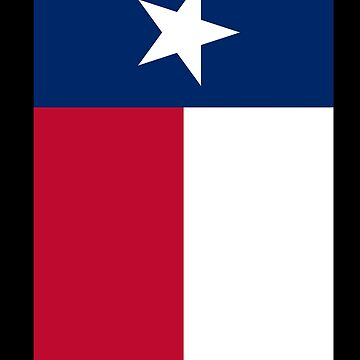 TEXAS, Lone Star, Texas Flag, PORTRAIT, Flag of the State of Texas, USA, America, American, on BLACK by TOMSREDBUBBLE