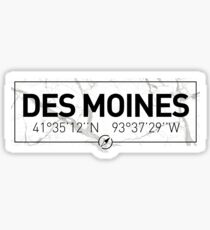 The longitude and latitude of Des Moines Sticker