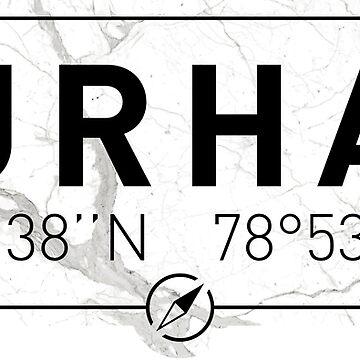 The longitude and latitude of Durham by efomylod