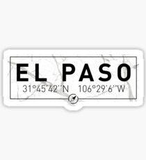 The longitude and latitude of El Paso Sticker