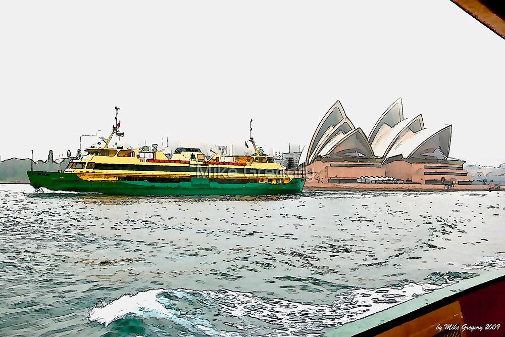 Manly Ferry passing Sydney Opera House by Mike Gregory