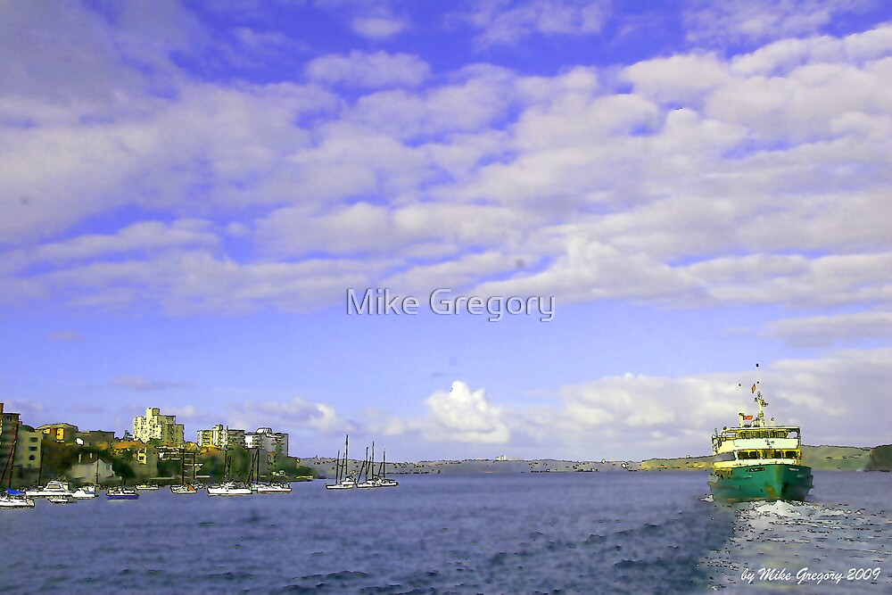 Manly Ferry departing wharf for Circular Quay by Mike Gregory