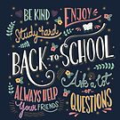 Back to school colorful typography drawing on blackboard with motivational messages, hand lettering, vector illustration by BlueLela