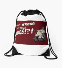 Mr. Plinkett - What's Wrong With Your Face - Red Background Wheelchair Drawstring Bag