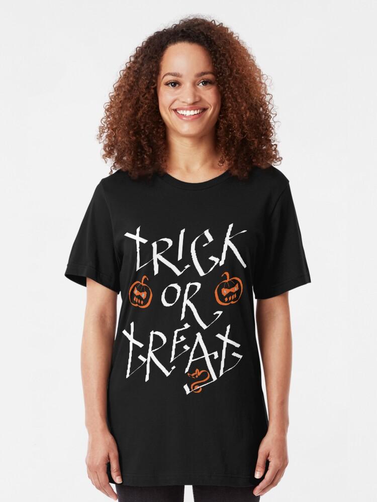 Alternate view of Trick or Treat pumpkin Slim Fit T-Shirt
