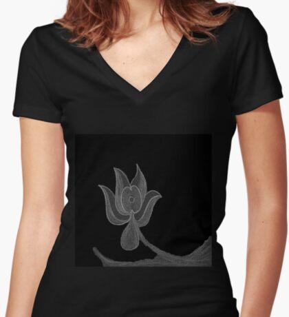Lonely Dark Flower Women's Fitted V-Neck T-Shirt