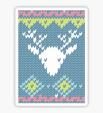 Christmas Knitted Like Art Reindeer Rudolph Xmas Winter Holidays Sticker