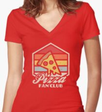 Pizza fan club  Fitted V-Neck T-Shirt