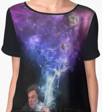Elon Musk smoking outerspace weed Chiffon Top