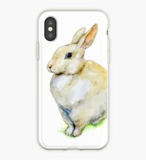 Watercolor rabbit sitting on grass. iPhone Case