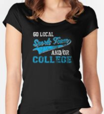 Go Local Sports Team And/Or College Distressed Women's Fitted Scoop T-Shirt