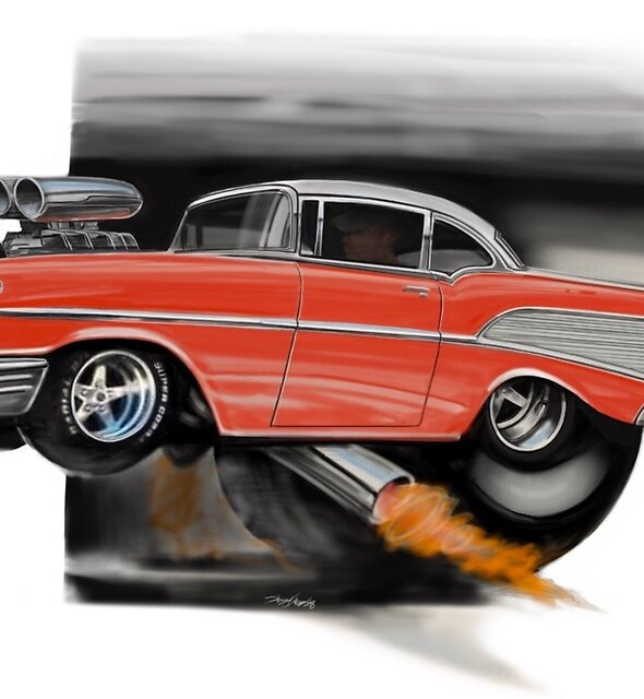 Red 57 hot rod by Pencilpusher55