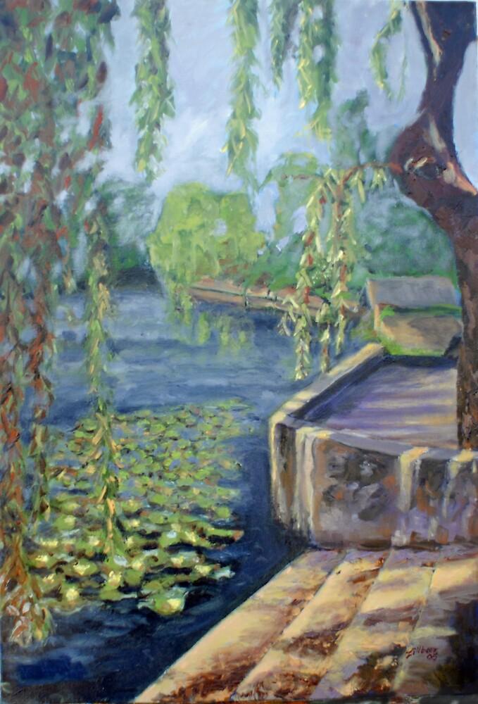 The Argenton River at Argenton-Chateau by Phyllis Dixon