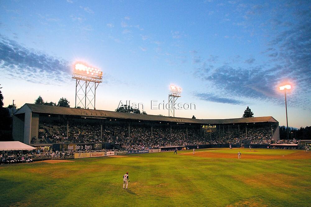 Civic Stadium sunset by Allan  Erickson
