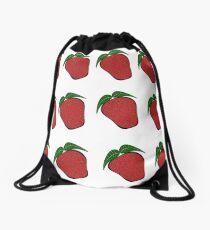 Strawberries pattern, strawberry, fruits, health, pattern, background, vegan, vegetarian, food, sweety, strawberries Drawstring Bag