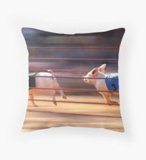 Pig Racing Throw Pillow