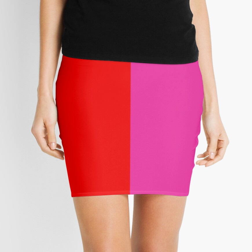 Colour blocking red and pink Mini Skirt