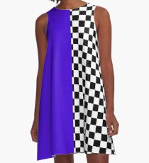Colour blocking with mod check A-Line Dress