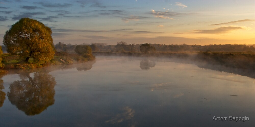 Autumn rural sunrise with tree and river by Artem Sapegin