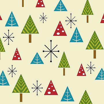 Mid Century Modern Christmas Trees by thepixelgarden