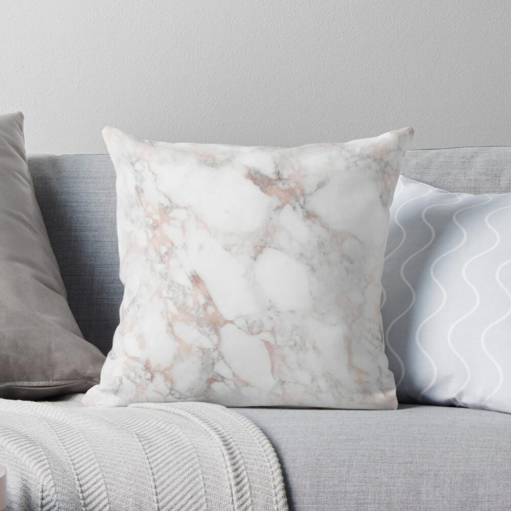 Rose Gold Marble Blush Pink Metallic Foil Throw Pillow
