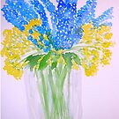 Blue and Yellow Flowers by Charisse Colbert