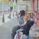 Women texting on Christchurch station by martyee