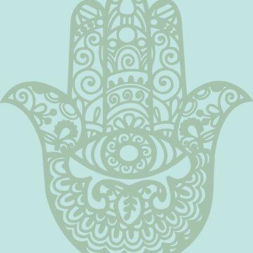 Aqua Green Hamsa Hand of Fatima | Globetrotter by koovox