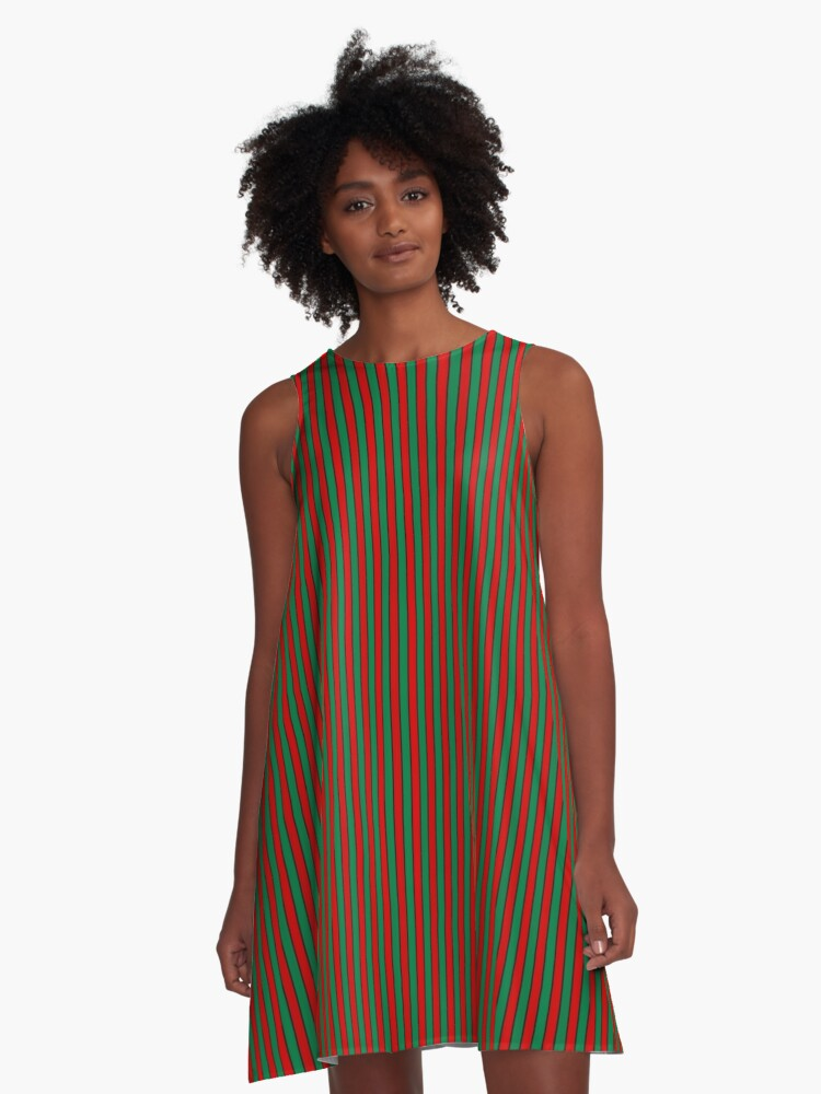Red and Green with Black Pinstripe A-Line Dress Front