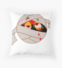 Funny Black Mummy Smiley Face Crying Blood Halloween  Floor Pillow