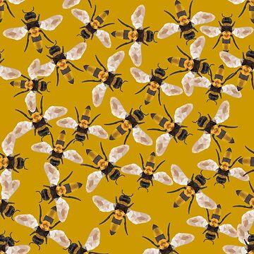 Geometric Bee Swarm Pattern on Gold by jitterfly