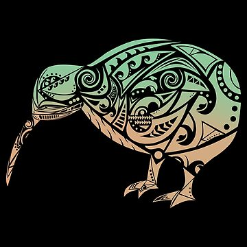 Maori Kiwi Bird Green Orange - Gift Idea by vicoli-shirts