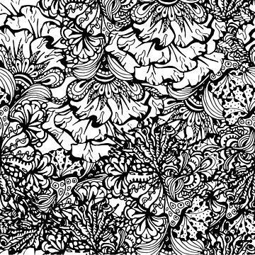 Flower Doodle Art Zen Tangle Black and White Line Drawing of Flowers by dfitts
