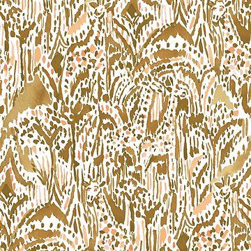 GIRAFFE SAFARI Golden Peach Tribal by Barbarian