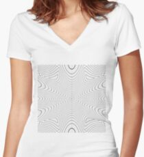 #abstract #pattern #texture #design #blue #white #wallpaper #circle #art #wall #illustration #line #wave #lines #light #textured #color #decorative #optical #black #graphic #curve #backdrop #rough Women's Fitted V-Neck T-Shirt