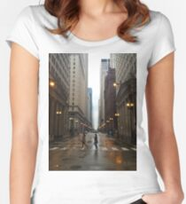 Walking in Chicago Rain Women's Fitted Scoop T-Shirt