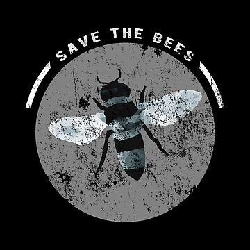 SAVE THE BEES - WEATHERED CIRCLE - Black & White by jitterfly