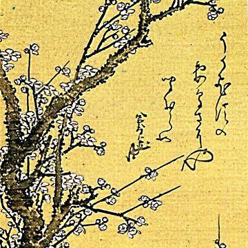 'Flowering Plum' by Katsushika Hokusai (Reproduction) by RozAbellera